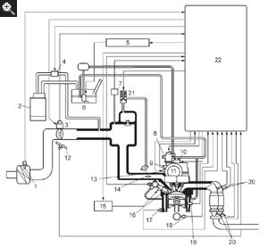 1 - intake air temperature sensor, 2 - absorber, 3 - etcs, 4 - evap vsv, 5  - fuel pump relay, 6 - fuel pump (low pressure), 7 - manifold pressure  sensor,