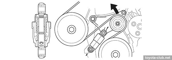 2az установка приводного ремня toyota rav4