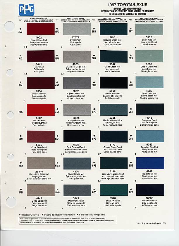 Toyota Color Chart Pictures Inspirational Pictures